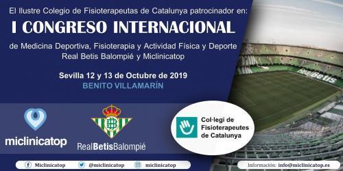 Col·laborem amb el I Congreso Internacional de Medicina Deportiva, Fisioterapia y Actividad Física y Deporte, organitzat pel Real Betis Balompié i Miclinicatop