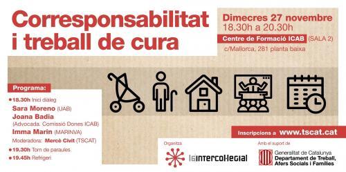 """La Comissió de Dones i Igualtat de la Intercol·legial organitza la Jornada """"Corresponsabilitat i treball de cura"""""""